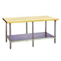 Eagle Group MT2496B Wood Top Work Table with Galvanized Base and Undershelf - 24 inch x 96 inch