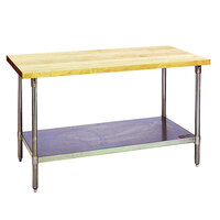 Eagle Group MT3060B Wood Top Work Table with Galvanized Base and Undershelf - 30 inch x 60 inch