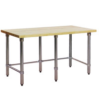 Eagle Group MT2460ST Wood Top Work Table with Stainless Steel Base - 24 inch x 60 inch