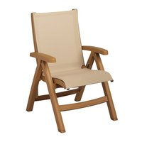 Grosfillex CT352008 Belize Midback Folding Resin Sling Armchair - Teakwood Frame / Khaki Sling