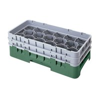 Cambro 17HS958119 Camrack 10 1/8 inch High Sherwood Green 17 Compartment Half Size Glass Rack