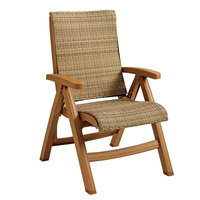 Grosfillex CT357008 Java Wicker Resin Folding Chair - Teakwood Frame / Honey Weave