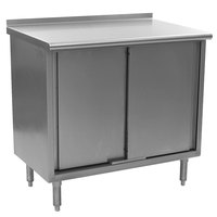 Eagle Group UCB3036SE 30 inch x 36 inch Work Table with Cabinet Base and 1 1/2 inch Backsplash