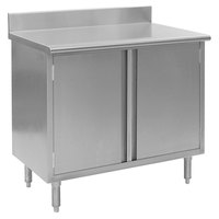 Eagle Group CBH2472SE-BS 24 inch x 72 inch Work Table with Cabinet Base and 4 1/2 inch Backsplash