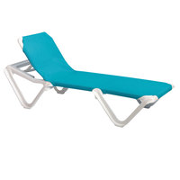Grosfillex 99101241 / US101241 Nautical White / Turquoise Stacking Adjustable Resin Sling Chaise