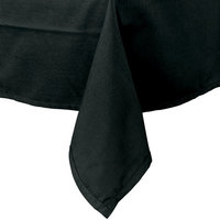 54 inch x 120 inch Black Hemmed Polyspun Cloth Table Cover