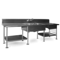 Eagle Group SMPT30120 Stainless Steel Prep Table with Sink, Drawer, Cutting Board, and Undershelf - 120 inch