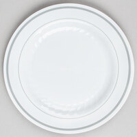 WNA Comet MP6WSLVR 6 inch White Masterpiece Plastic Plate with Silver Accent Bands - 150 / Case