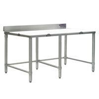 Eagle Group CT2484S-BS 24 inch x 84 inch Poly Top Stainless Steel Cutting Table - Open Base