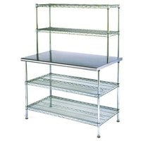 Eagle Group T2448EBW-2 24 inch x 48 inch Stainless Steel Table with 2 Chrome Wire Undershelves and 2 Chrome Wire Overshelves
