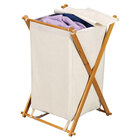 Wood X-Frame Collapsible Laundry Hamper
