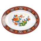 Peacock 14 1/8 inch x 10 5/8 inch Oval Melamine Deep Platter - 12/Pack