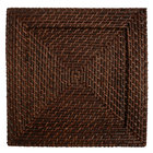 The Jay Companies 13 inch x 13 inch Square Brick Brown Rattan Charger Plate