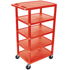 Luxor / H. Wilson BC50-RD Red 5 Flat Shelf Structural Foam Plastic Utility Cart - 18 inch x 24 inch x 46 inch