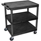 Luxor / H. Wilson HE33-B Black 3 Flat Shelf Structural Foam Plastic Utility Cart - 24 inch x 32 inch x 33 1/2 inch