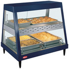 Hatco GRHD-2PD Navy Blue Stainless Steel Glo-Ray 32 1/2 inch Full Service Dual Shelf Merchandiser