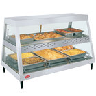 Hatco GRHD-3PD White Granite Stainless Steel Glo-Ray 45 1/2 inch Full Service Dual Shelf Merchandiser