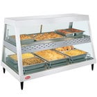 Hatco GRHDH-3PD White Granite Stainless Steel Glo-Ray 46 3/8 inch Full Service Dual Shelf Merchandiser with Humidity Chamber