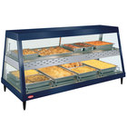 Hatco GRHDH-4PD Navy Blue Stainless Steel Glo-Ray 59 3/8 inch Full Service Dual Shelf Merchandiser with Humidity Chamber