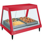 Hatco GRHDH-2P Warm Red Stainless Steel Glo-Ray 33 3/8 inch Full Service Single Shelf Merchandiser with Humidity Chamber