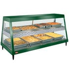 Hatco GRHDH-4PD Hunter Green Stainless Steel Glo-Ray 59 3/8 inch Full Service Dual Shelf Merchandiser with Humidity Chamber