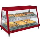 Hatco GRHDH-3PD Warm Red Stainless Steel Glo-Ray 46 3/8 inch Full Service Dual Shelf Merchandiser with Humidity Chamber