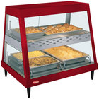 Hatco GRHDH-2PD Warm Red Stainless Steel Glo-Ray 33 3/8 inch Full Service Dual Shelf Merchandiser with Humidity Chamber