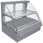 Hatco FSCDH-2PD Gray Flav-R-Savor Convected Air Curved Front Display Case with Humidity Control