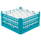 Vollrath 52846 Signature Lemon Drop Full-Size Light Blue 30-Compartment 9 1/16 inch XX-Tall Plus Glass Rack