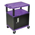 Luxor / H. Wilson WT34PC2E-B Purple Tuffy Two Shelf A/V Cart with Locking Cabinet - 24