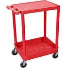 Luxor / H. Wilson RDSTC21RD Red Two Shelf Utility Cart - 1 Tub Shelf, 24 inch x 18 inch x 35 3/4 inch