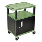 Luxor WT34GC2E-B Green Tuffy Two Shelf A/V Cart with Locking Cabinet - 24 inch x 18 inch x 34 inch