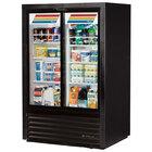 Black True GDM-33CPT-LD Slide Door Narrow Depth Convenience Store Glass Door Merchandiser Refrigerator - Pass-Through 17 Cu. Ft.