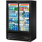 True GDM-33CPT-LD Black Sliding Door Narrow Depth Convenience Store Glass Door Merchandiser Refrigerator - Pass-Through 17 Cu. Ft.