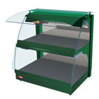 Hatco GRCMW-1DH Green Glo-Ray 26 inch Full Service Double Shelf Curved Merchandising Warmer - 1660W