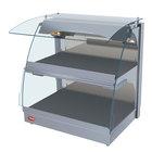 Hatco GRCMW-1DH White Glo-Ray 26 inch Self Service Double Shelf Curved Merchandising Warmer - 1660W
