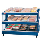 Hatco GR3SDS-33D Navy Blue Glo-Ray 33 inch Slanted Double Shelf Heated Glass Merchandising Warmer
