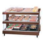 Hatco GR3SDS-39D Antique Copper Glo-Ray 39 inch Slated Double Shelf Heated Glass Merchandising Warmer