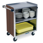 Lakeside 622 3 Shelf Medium Duty Stainless Steel Utility Cart with Enclosed Base and Walnut Finish - 19 inch x 30 3/4 inch x 33 7/8 inch