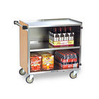 Lakeside 644 3 Shelf Medium Duty Stainless Steel Utility Cart with Enclosed Base and Light Maple Finish - 22 1/2 inch x 39 1/4 inch x 37 3/8 inch