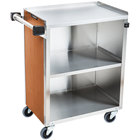 Lakeside 610 3 Shelf Standard Duty Stainless Steel Utility Cart with Enclosed Base and Victorian Cherry Finish - 16 1/2 inch x 27 3/4 inch x 32 3/4 inch