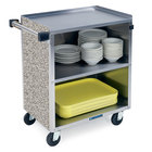 3 Shelf Medium Duty Stainless Steel Utility Cart with Enclosed Base and Gray Sand Finish - 19 inch x 30 3/4 inch x 33 7/8 inch