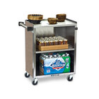 Lakeside 610 3 Shelf Standard Duty Stainless Steel Utility Cart with Enclosed Base and Beige Suede Finish - 16 1/2 inch x 27 3/4 inch x 32 3/4 inch