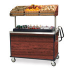Lakeside 668 Stainless Steel Vending Cart with Insulated Polyethylene Ice Bin, Overhead Shelf, and Red Maple Finish - 28 1/2 inch x 54 3/4 inch x 67 inch
