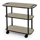 Geneva 36104 Rectangular 3 Shelf Laminate Tableside Service Cart with Handle Cutouts and Beige Suede Finish - 16