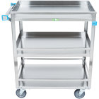 Lakeside 526 Stainless Steel Three Shelf Guard Rail Utility Cart - 31