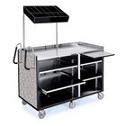 Lakeside 68010 4 Shelf Stainless Steel Vending Cart with Pull-Out Shelves and Gray Sand Laminate Finish - 27 1/2 inch x 60 inch x 70 inch
