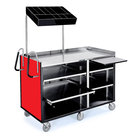 Lakeside 68010 4 Shelf Stainless Steel Vending Cart with Pull-Out Shelves and Red Laminate Finish - 27 1/2 inch x 60 inch x 70 inch