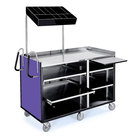 Lakeside 68010 4 Shelf Stainless Steel Vending Cart with Pull-Out Shelves and Purple Laminate Finish - 27 1/2 inch x 60 inch x 70 inch