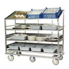 Lakeside B599 Stainless Steel Soiled Dish Breakdown Cart with 3 Flat Shelves, 1 Angled Shelf - 75 1/2 inch x 30 7/8 inch x 69 1/4 inch